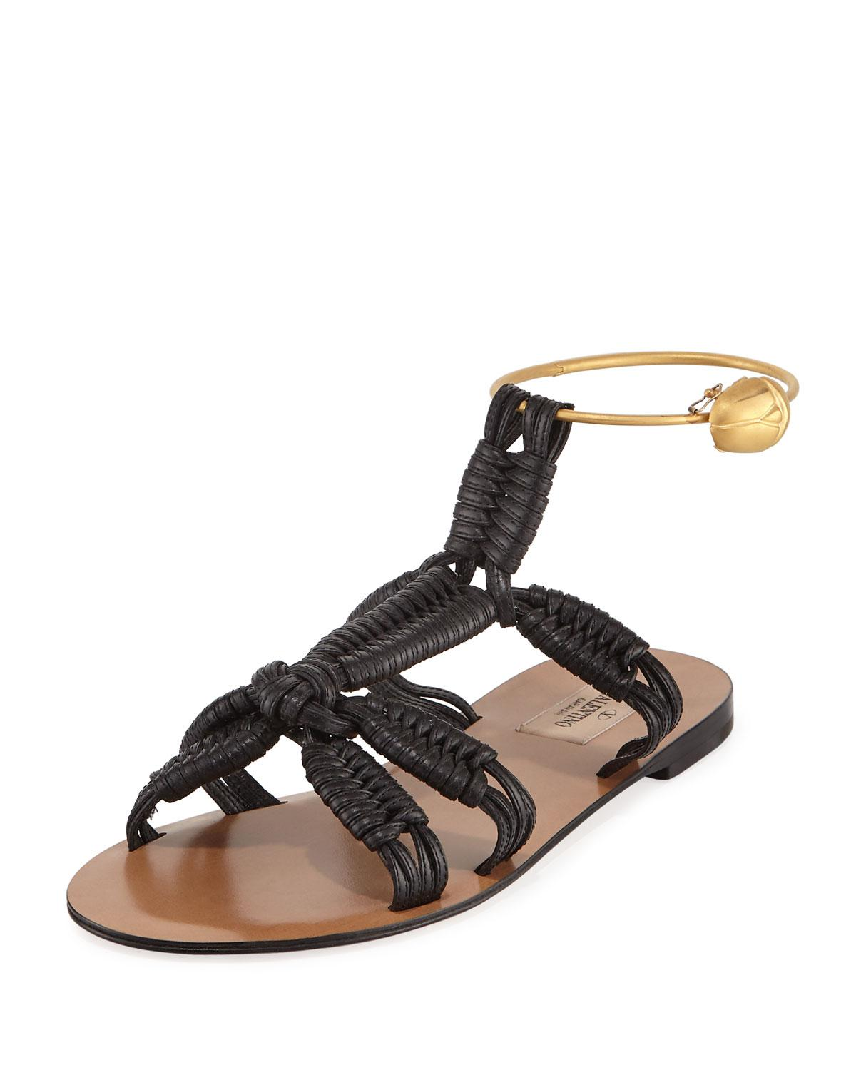 18f28376e259 Lyst - Valentino Braided Leather Ankle-ring Sandals in Black