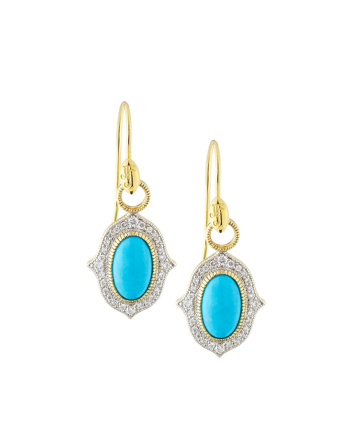 Jude Frances 18K Provence Pavé Diamond & Turquoise Oval Dangle & Drop Earrings MPVUid4Hwl