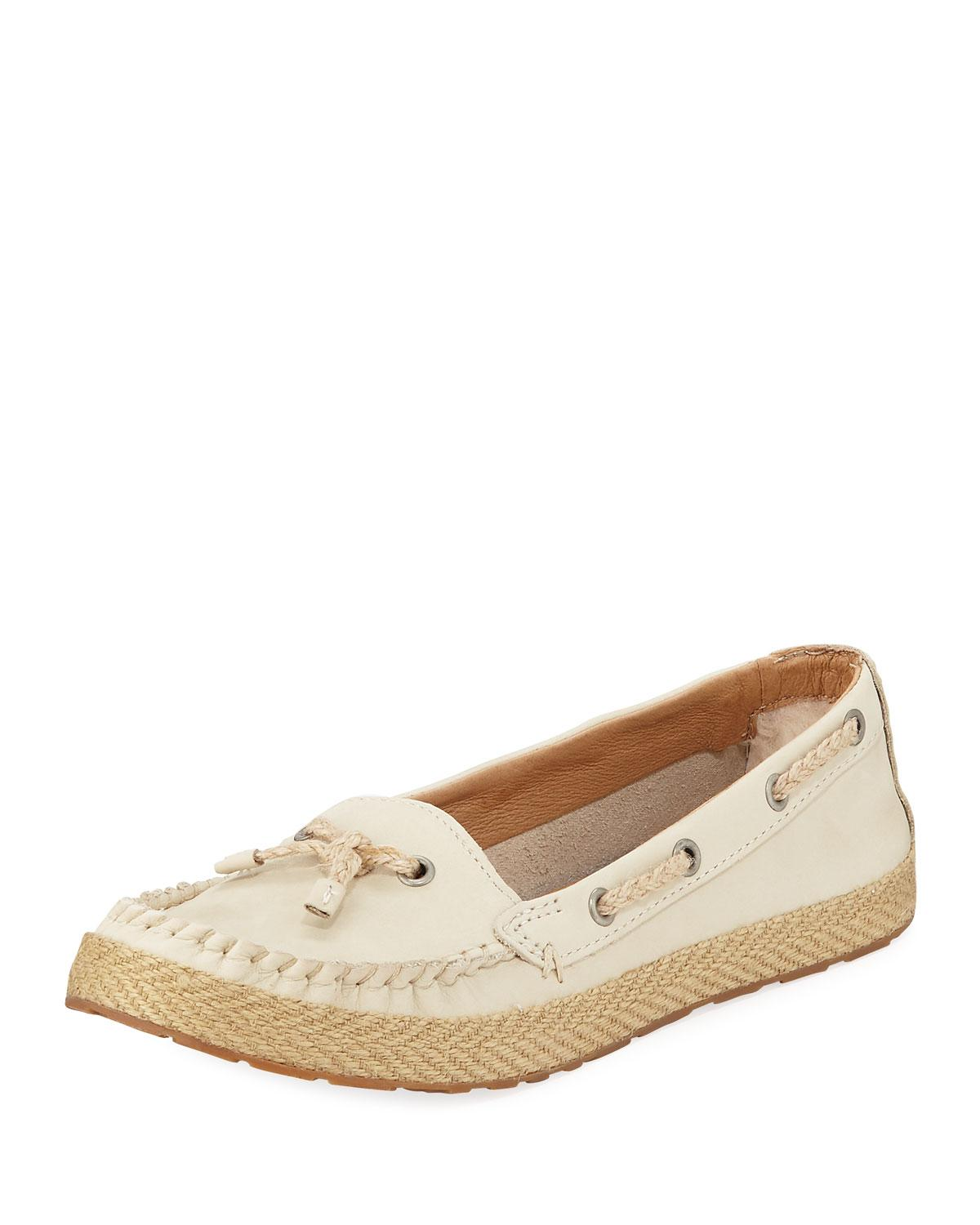 fb2926fe9fd Lyst - UGG Chivon Leather Flat Loafers White in White