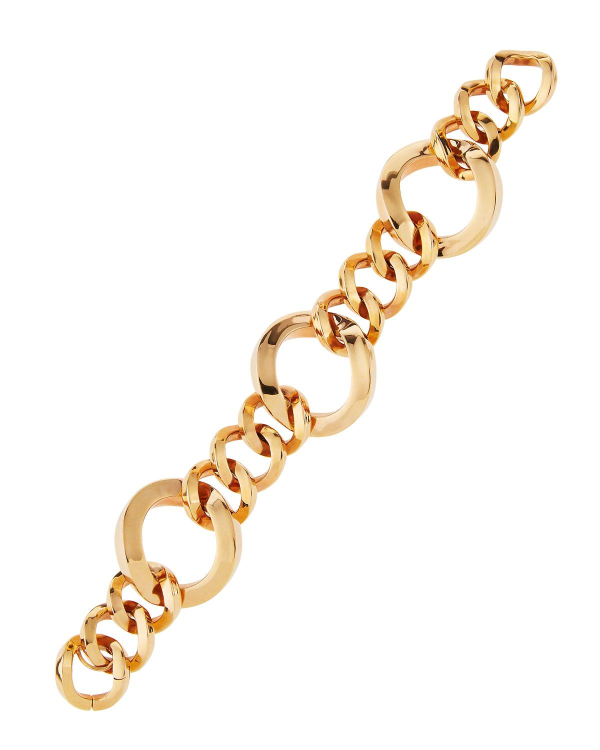 Roberto Coin 18K Rose Three-Ring Round-Link Bracelet YwgiGmtX