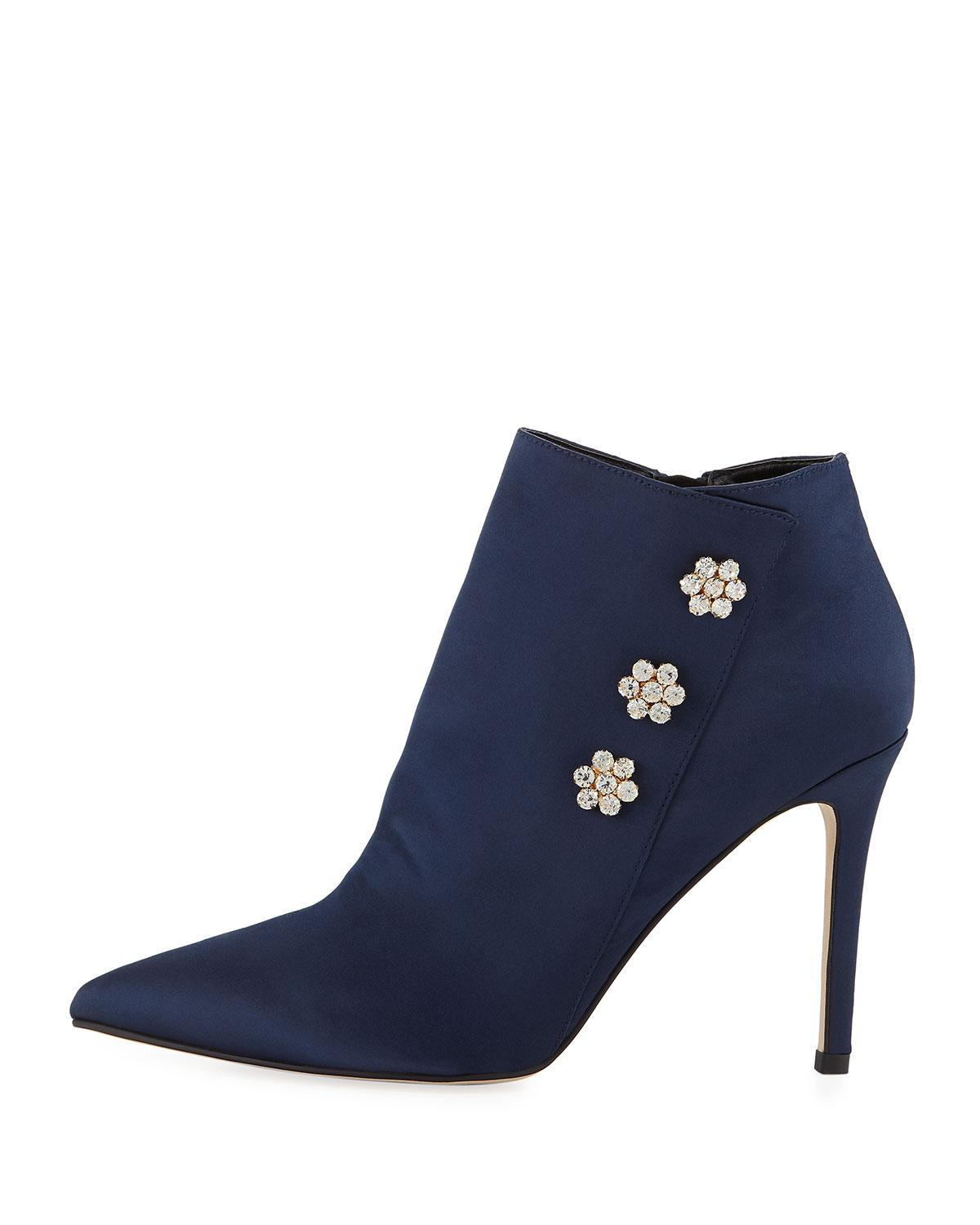 492c1f6c9fba Lyst - Neiman Marcus Sparkle Embellished Satin Booties in Blue