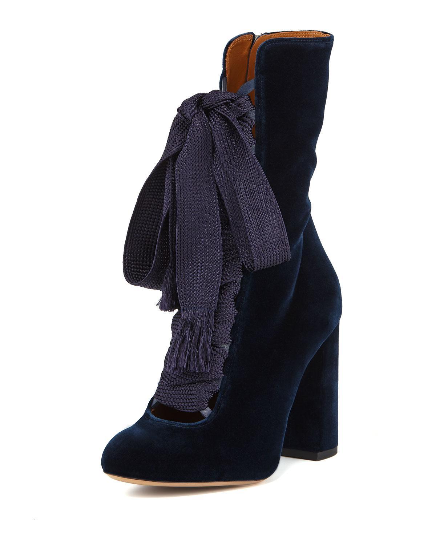 822dad47ea Chloé - Blue Harper Velvet Lace-up Chunky High-heel Booties - Lyst. View  fullscreen