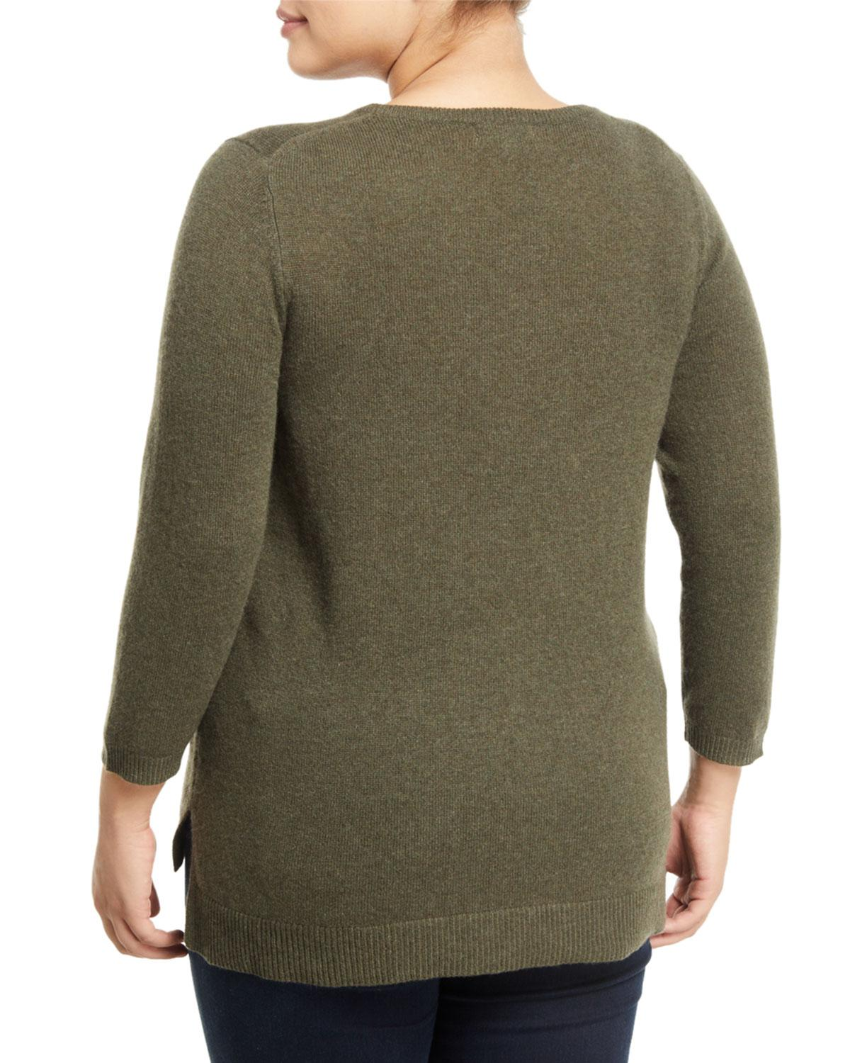 a13b09f5161c Lyst - Neiman Marcus Basic Cashmere V-neck Sweater - Plus Size in Green