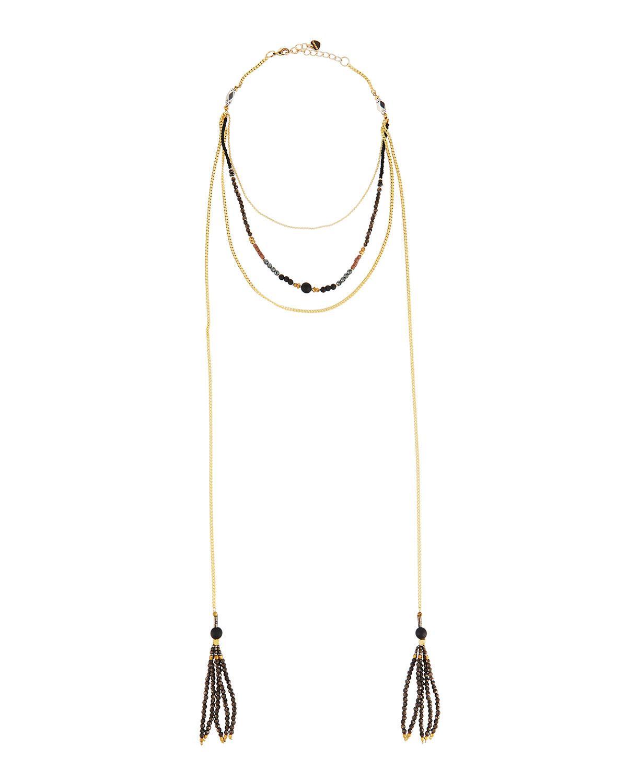Nakamol Beaded Multi-Strand Choker Necklace w/ Triangle Charm 5N0UIKA