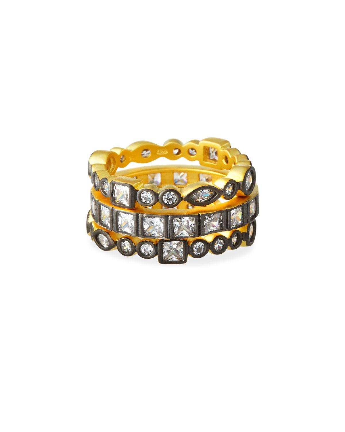 a54f690d1425c Freida Rothman Mixed Stone Radiance Stacking Rings Set Of 3 in ...
