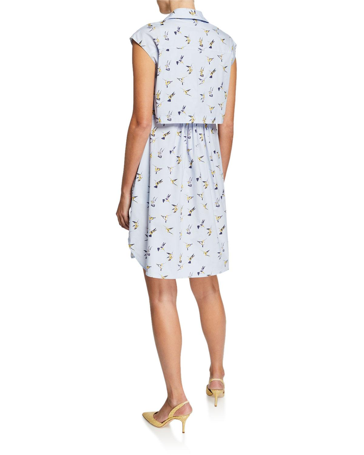 09ed54ac9e9 Lyst - Carolina Herrera Hummingbird Button-down Shirtdress