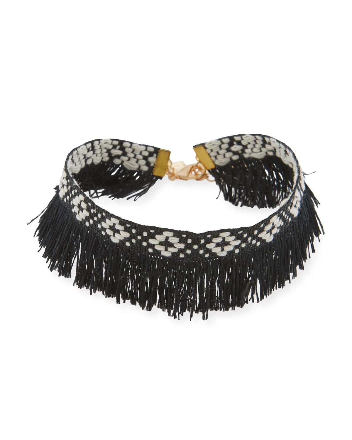 Panacea Geometric Woven Fringed Choker Necklace UbEqQaT3QJ