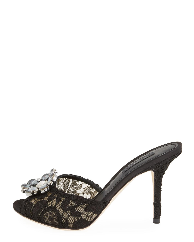 dd3131ecccb5e Lyst - Dolce   Gabbana Jeweled Lace Slide Sandal Black in Black - Save 41%