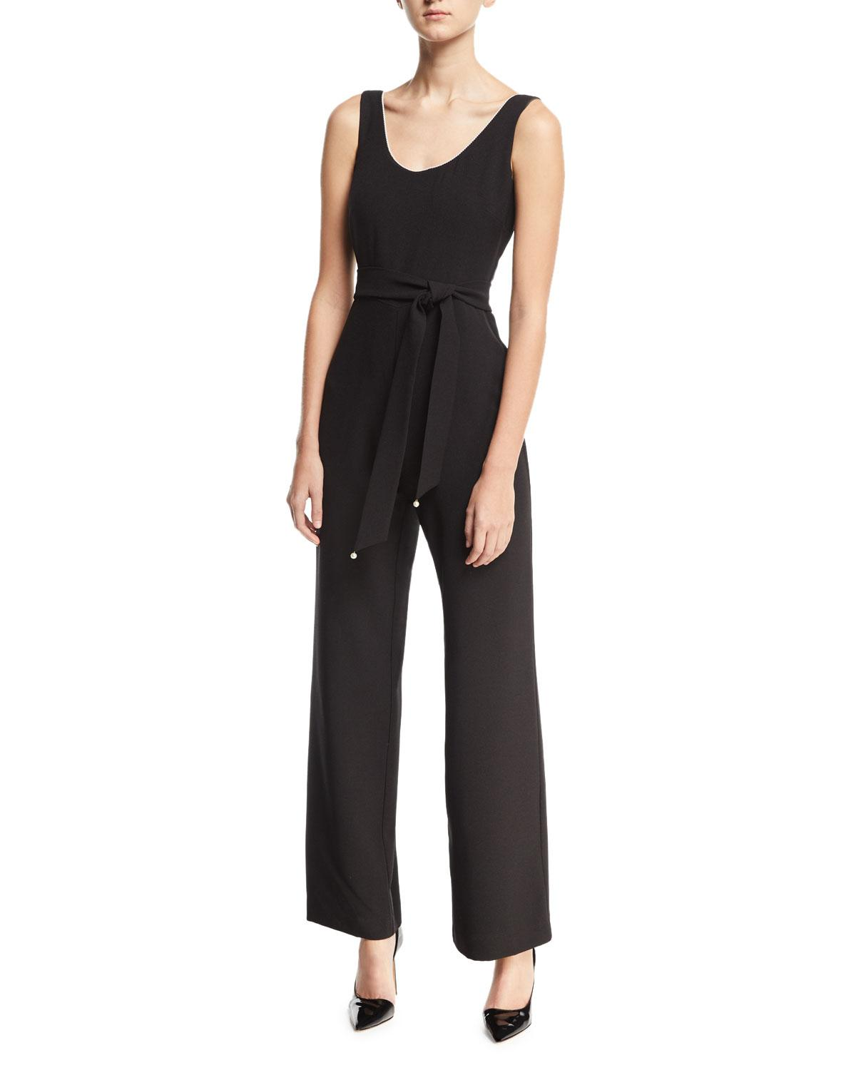 a315e294ba4a Lyst - Karl Lagerfeld Sleeveless Belted Jumpsuit in Black