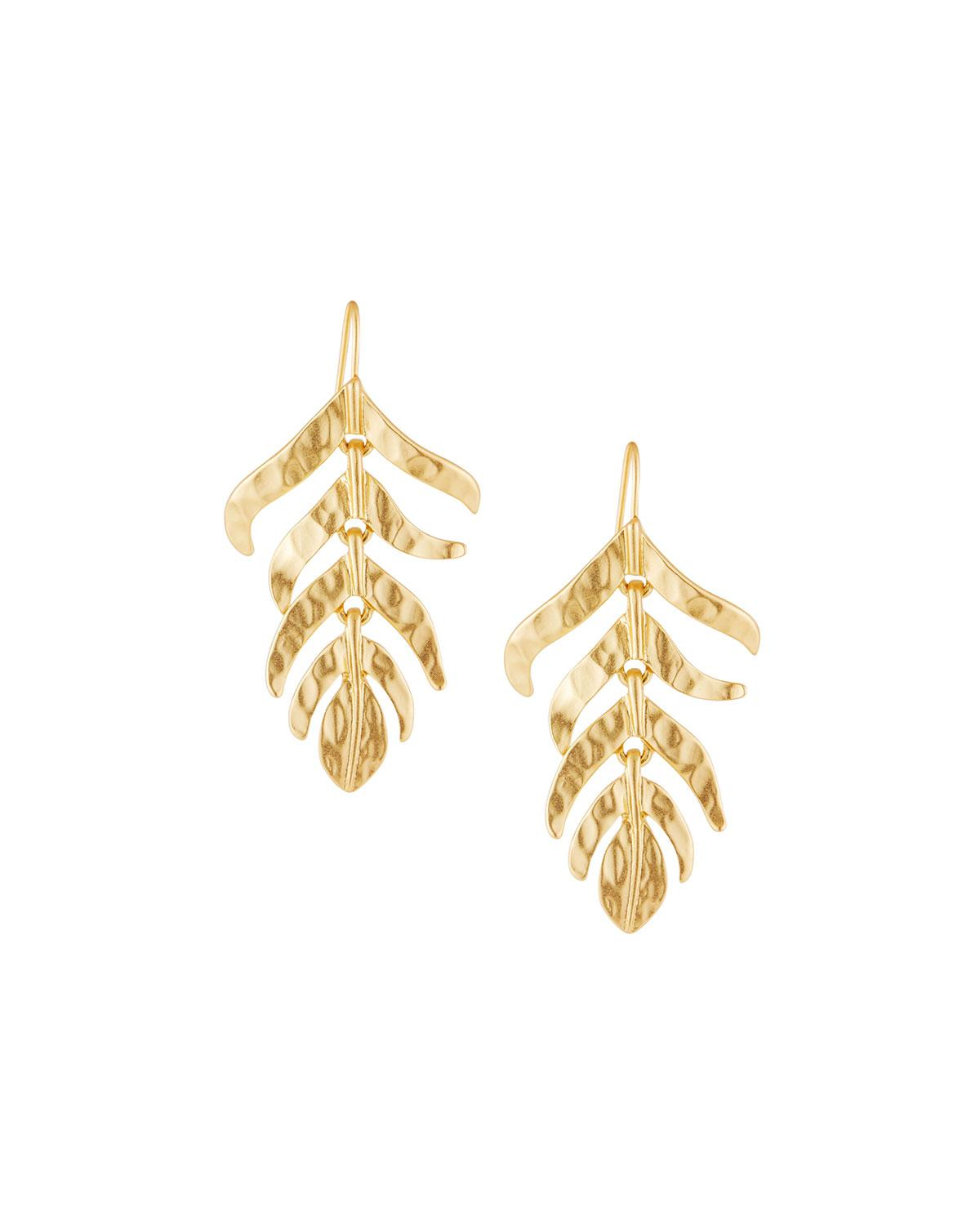 Kenneth Jay Lane Satin Leaf Drop Earrings itUew3B