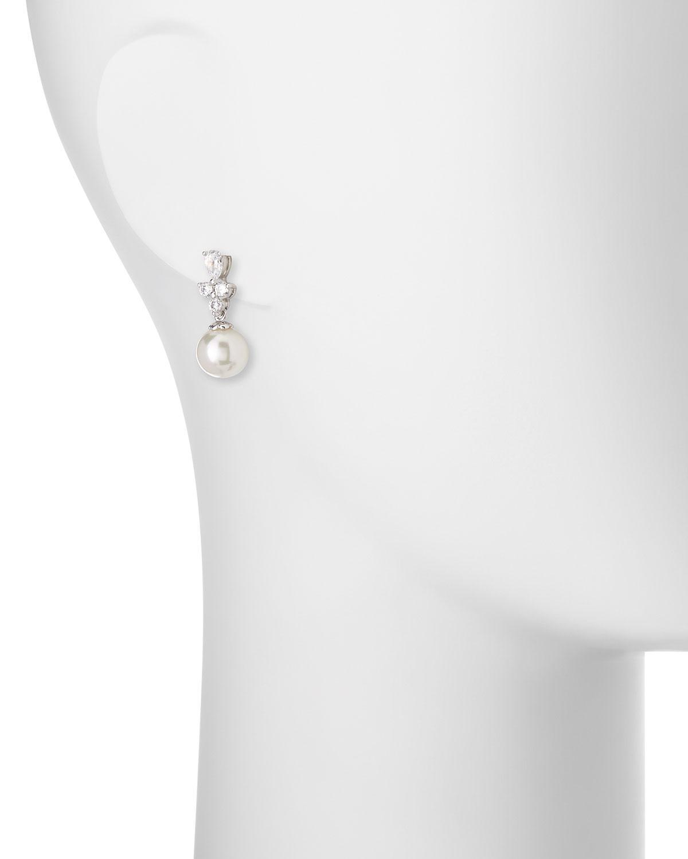 Majorica Round Pearl & CZ Crystal Cluster Drop Earrings bfa2msho