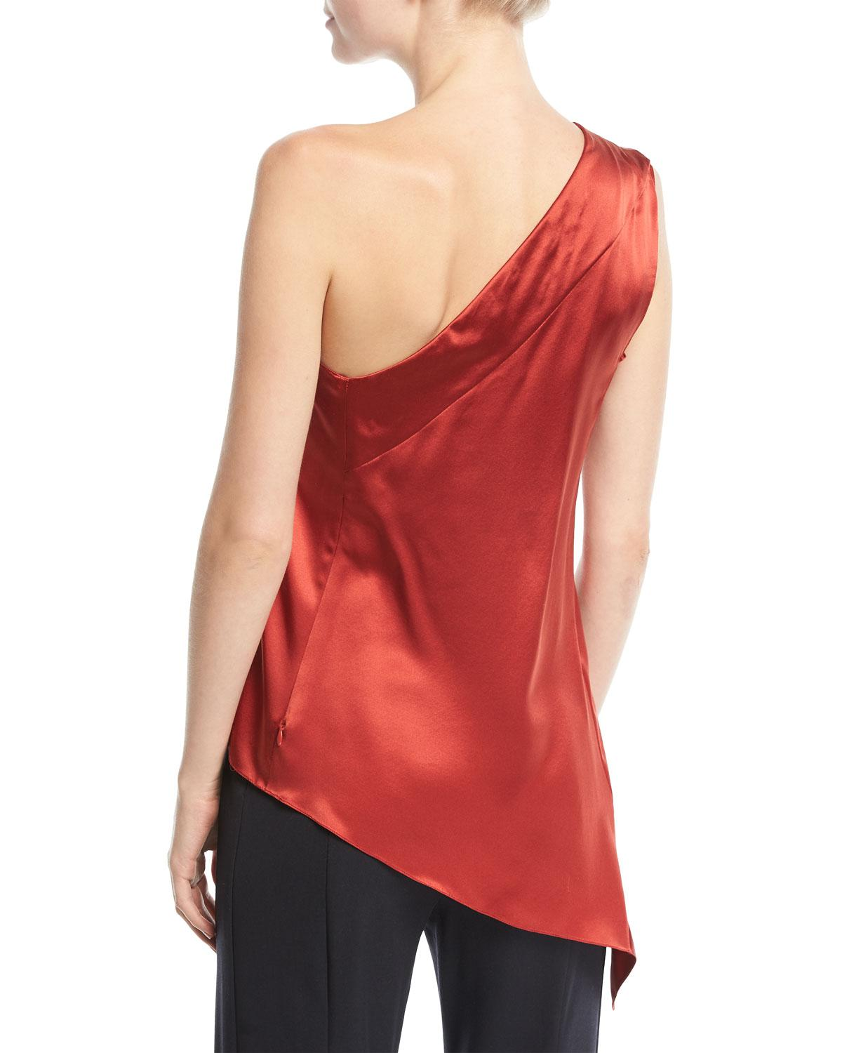 83e698a1d1b29 Lyst - Narciso Rodriguez One-shoulder Handkerchief-hem Silk Top in Red -  Save 71%