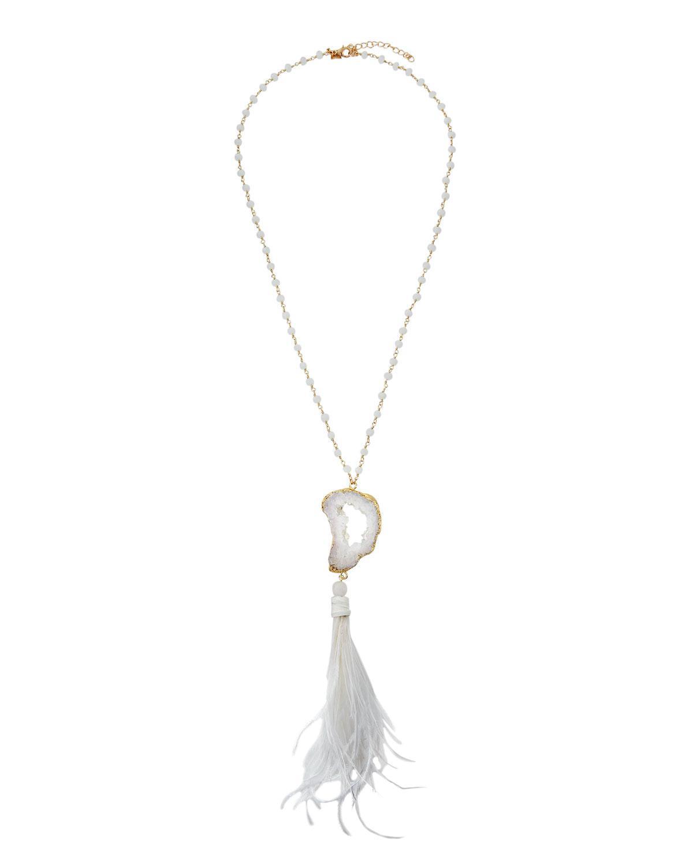 Panacea Stone & Feather Pendant Necklace dscvLyET