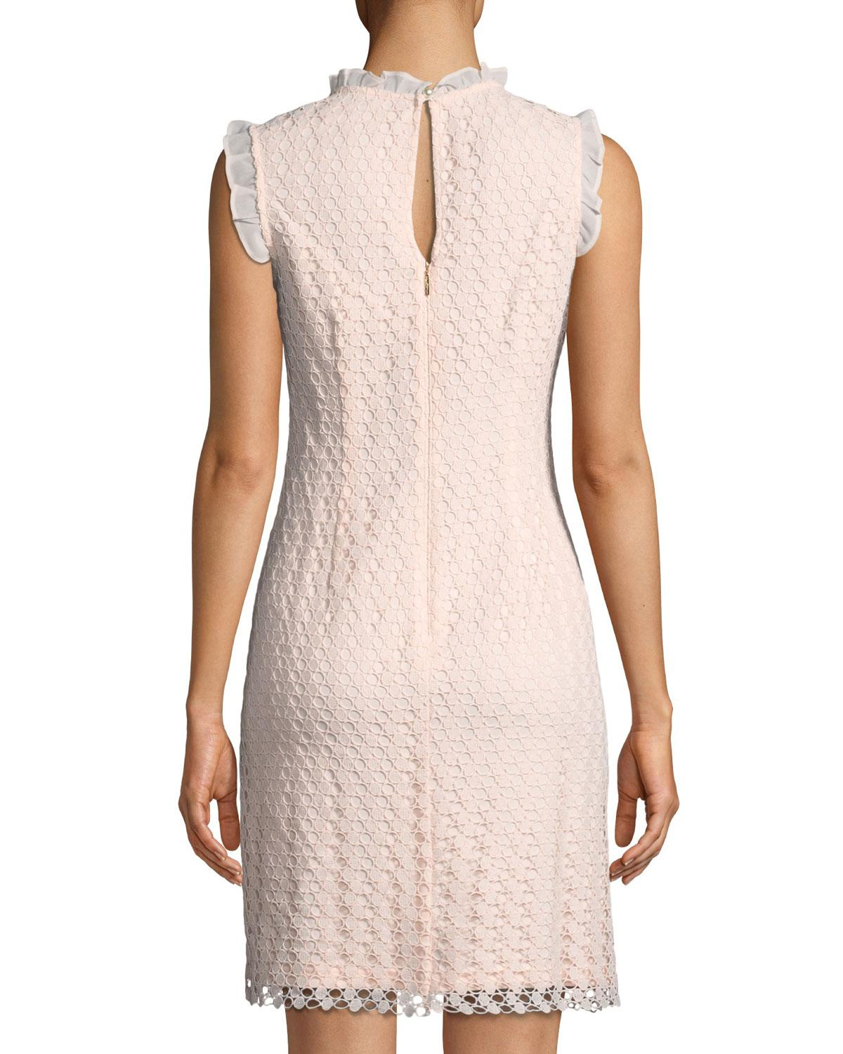08c701f5 Lyst - Karl Lagerfeld Circle-lace Ruffle-trimmed Dress in Pink