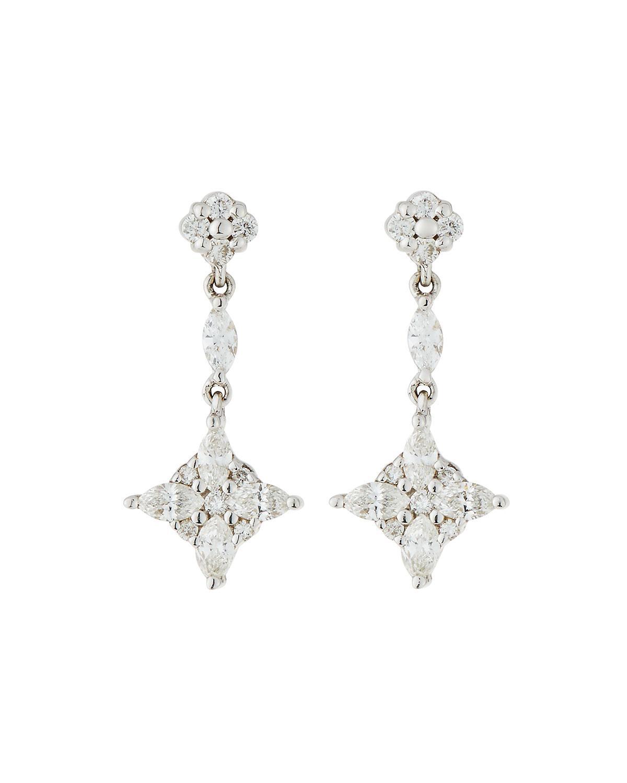 9e6149e879a4e Lyst - Roberto Coin 18k White Gold Diamond Drop Earrings in White