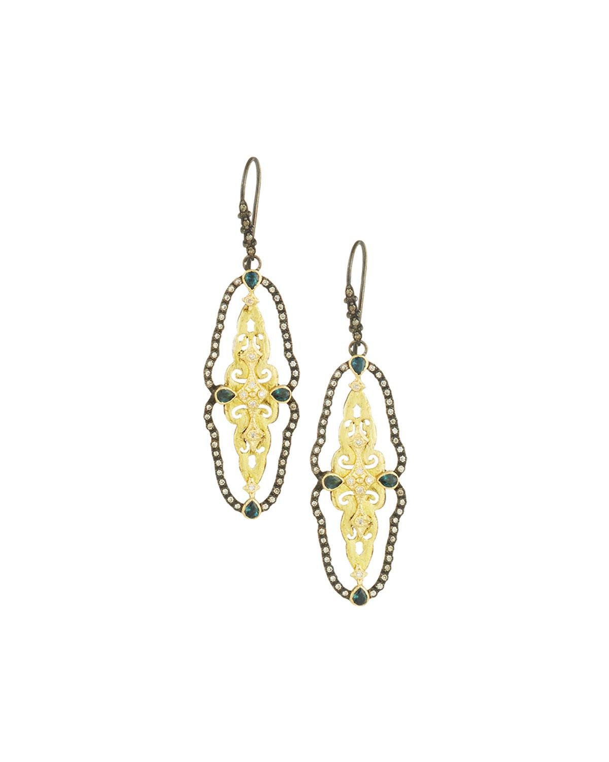 Armenta Two-Tone Open Scalloped Drop Earrings W7DIfVsY
