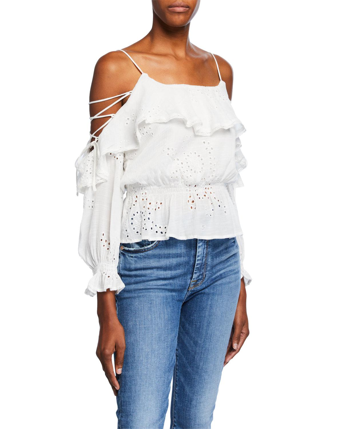 90a653ec1cbc7 Lyst - Astr Kennedy Cold Shoulder Eyelet Top in White