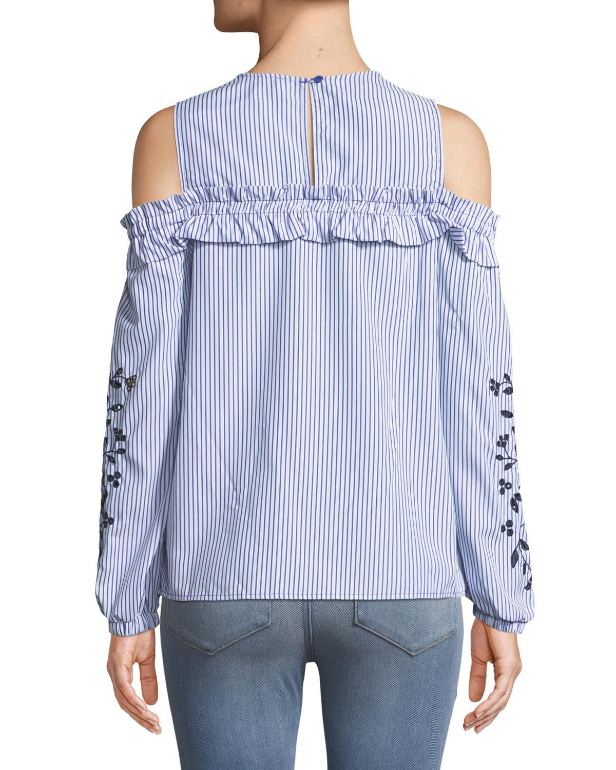 89d153857e6ef Lyst - Neiman Marcus Eyelet-embroidered Cold-shoulder Blouse in Blue