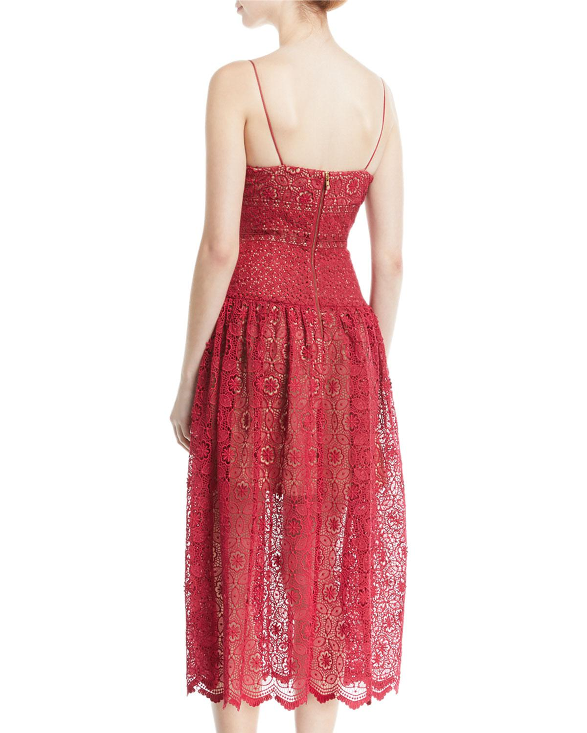 3a4778ccb855d Lyst - Self-Portrait Sleeveless Floral-lace Midi Cocktail Dress in Red -  Save 30%