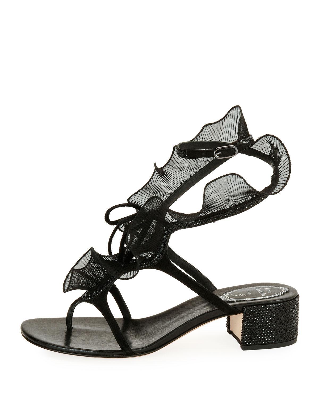66e1c6986e0a Lyst - Rene Caovilla Ruffle Beaded Thong Sandal in Black