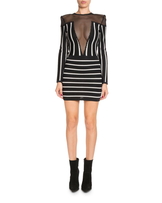 781c2894066 Balmain. Women s Black Long-sleeve Striped Short Cocktail Dress With Mesh  Inset