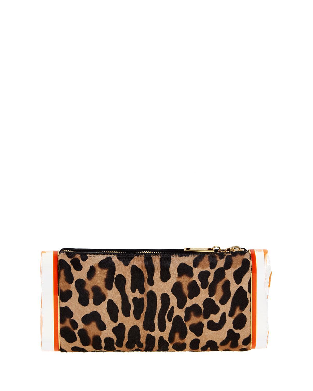 Edie Parker Lara Leopard Calf-Hair Clutch Bag HCVWF
