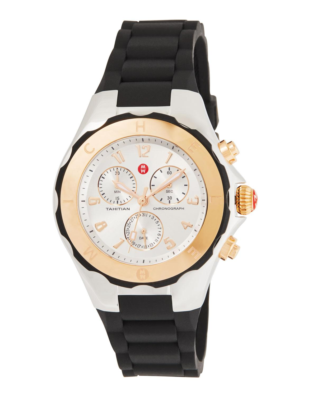 9307a2407 Michele 40mm Tahitian Jelly Bean Chronograph Watch W/ Silicone Strap ...