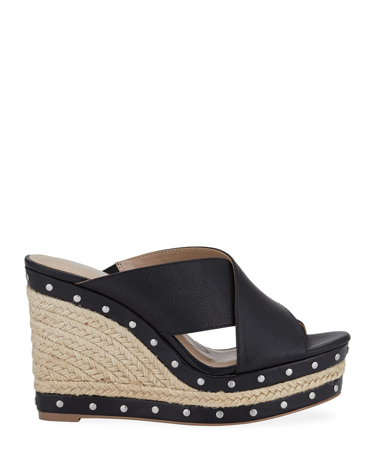 09720f814cae Lyst - Charles David Leilani Studded Espadrille Wedge Sandals in Black -  Save 48%