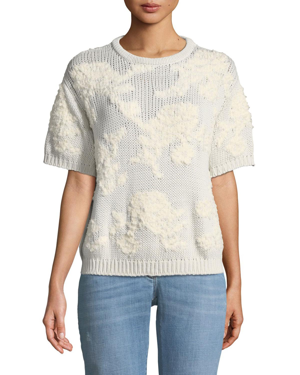 Lyst Brunello Cucinelli Summer Jacquard Short Sleeve Sweater In