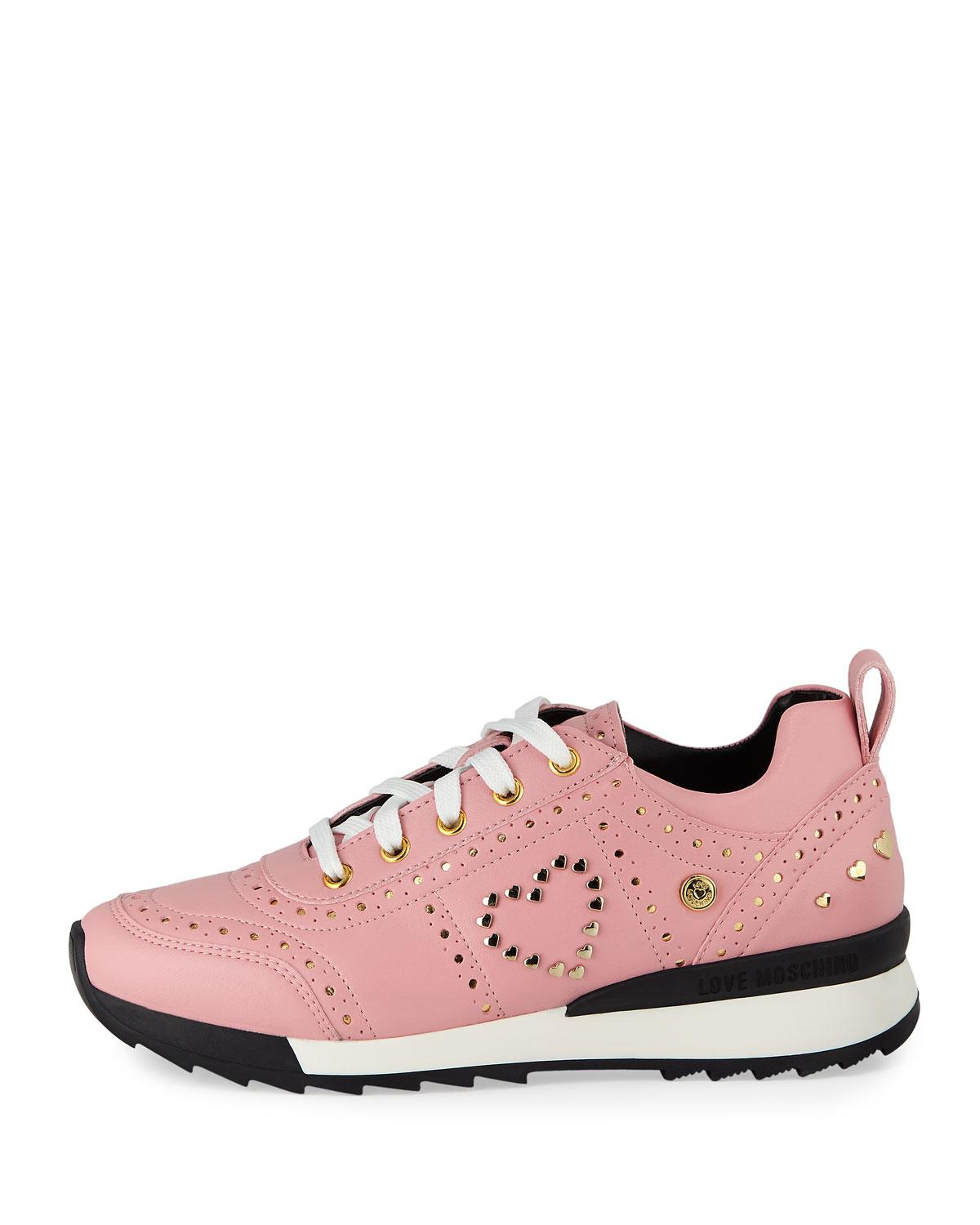 a15674581d4 Lyst - Love Moschino Power Studded Perforated Sneakers Pink gold in Pink -  Save 15%