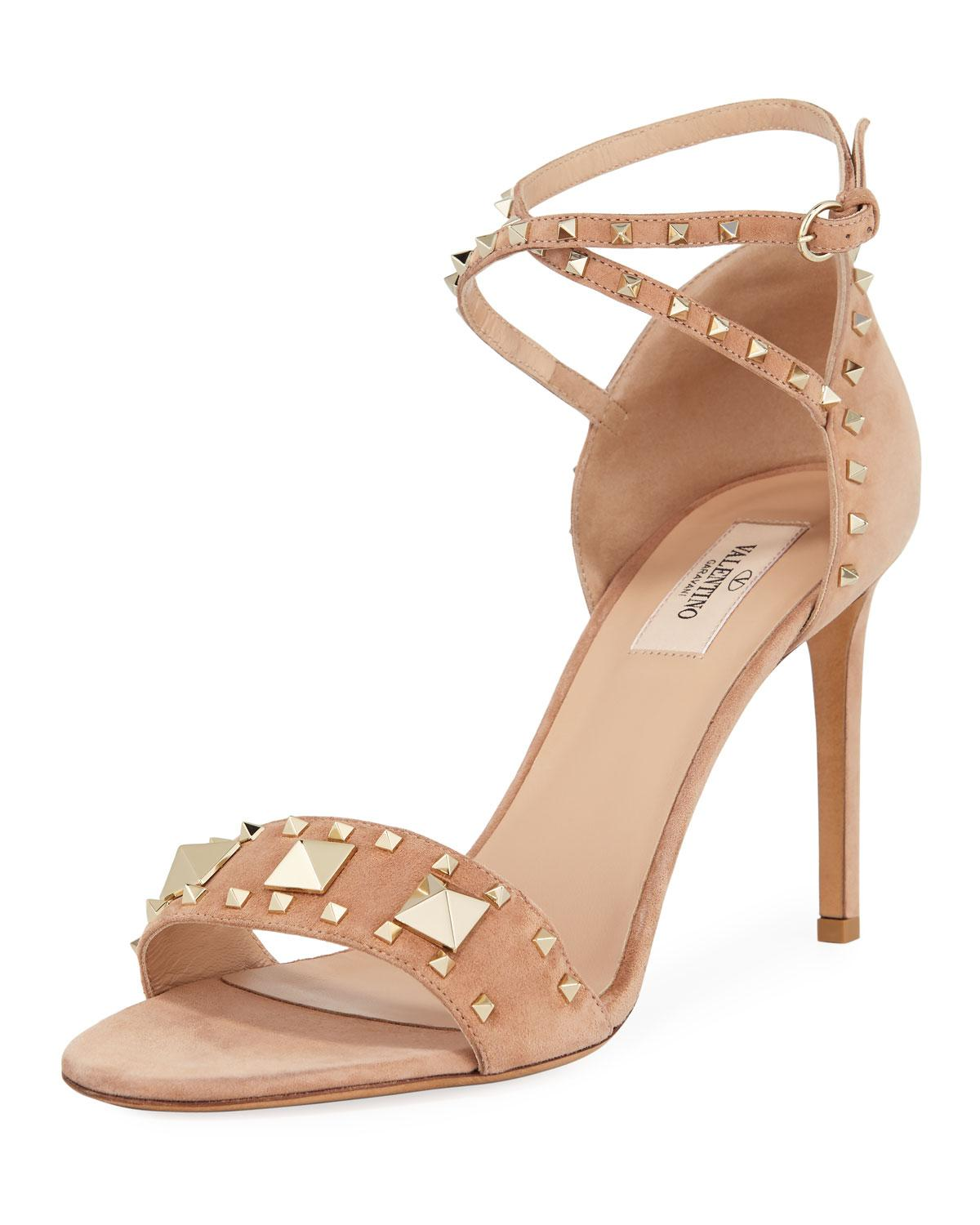 75232c071c93 Lyst - Valentino Rockstud Ankle-wrap Suede Sandals in Natural
