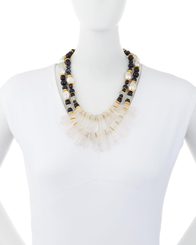 Akola Two-Strand Black Agate & Crystal Necklace MQtLdyIrFS