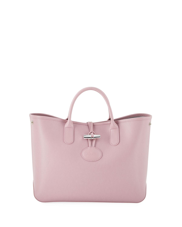 Longchamp Women S Pink Roseau Reversible Leather Tote Bag