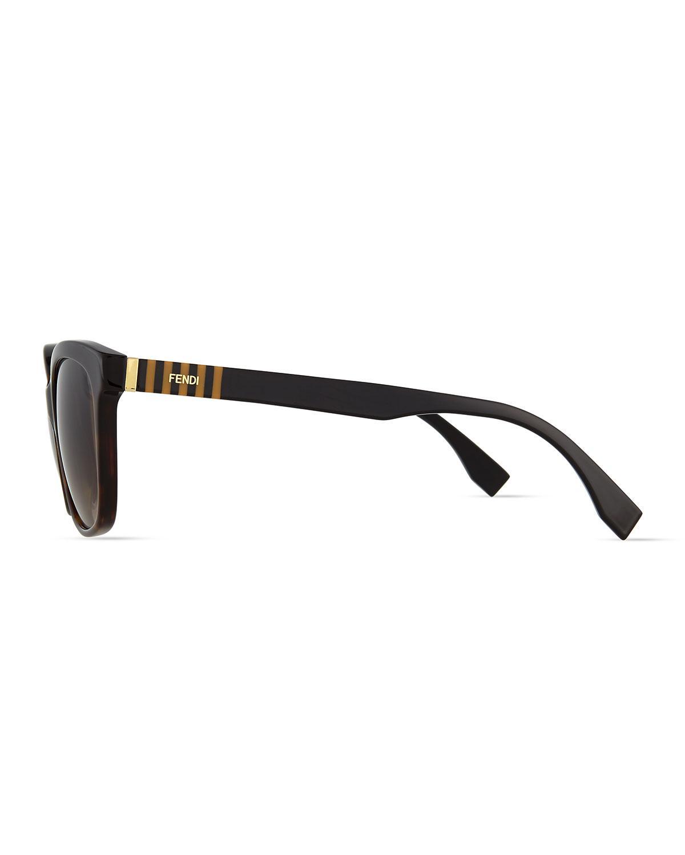 8890cca0841 Lyst - Fendi Pequin Striped-temple Sunglasses in Brown