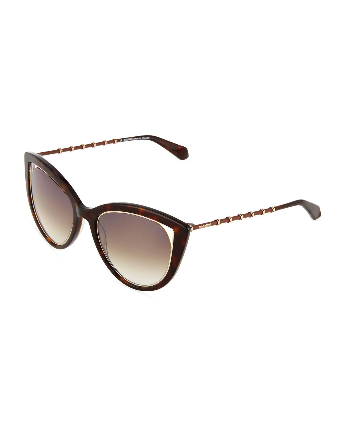 b27fba4cdb Balmain Two-tone Cat-eye Sunglasses in Black - Lyst