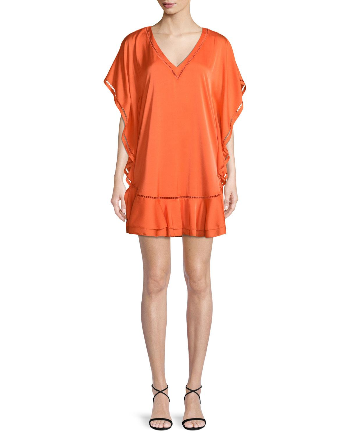 1ada01f90 Trina Turk Roca V-neck Ruffled Dress in Orange - Lyst