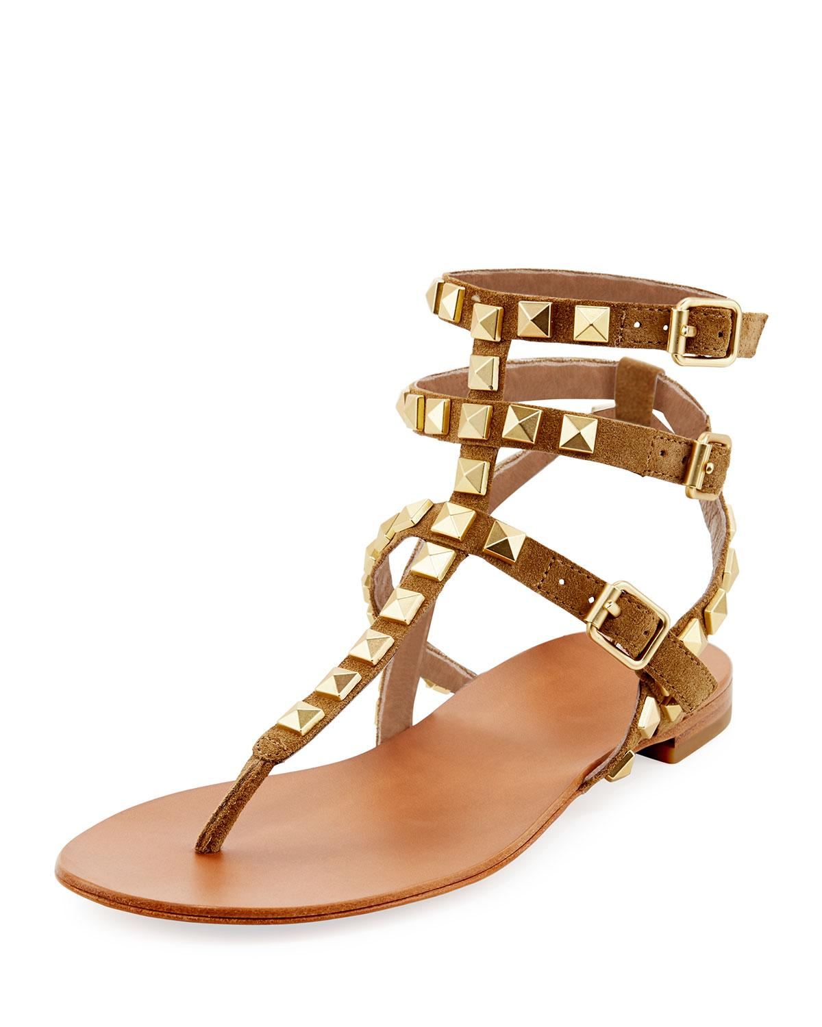 20975e5a6 ... 2dc25ef06bd98 Lyst - Ash Mumbaia Suede Studded Flat Sandals Brown multi  in Brown ...