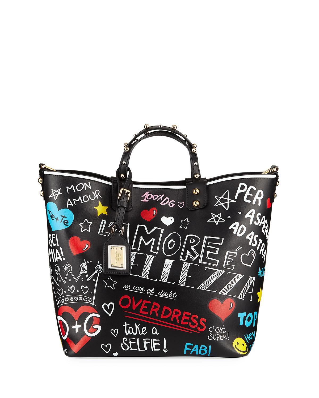 Lyst - Dolce   Gabbana Beatrice Graffiti Leather Shoulder Bag in Black a052ce6aea