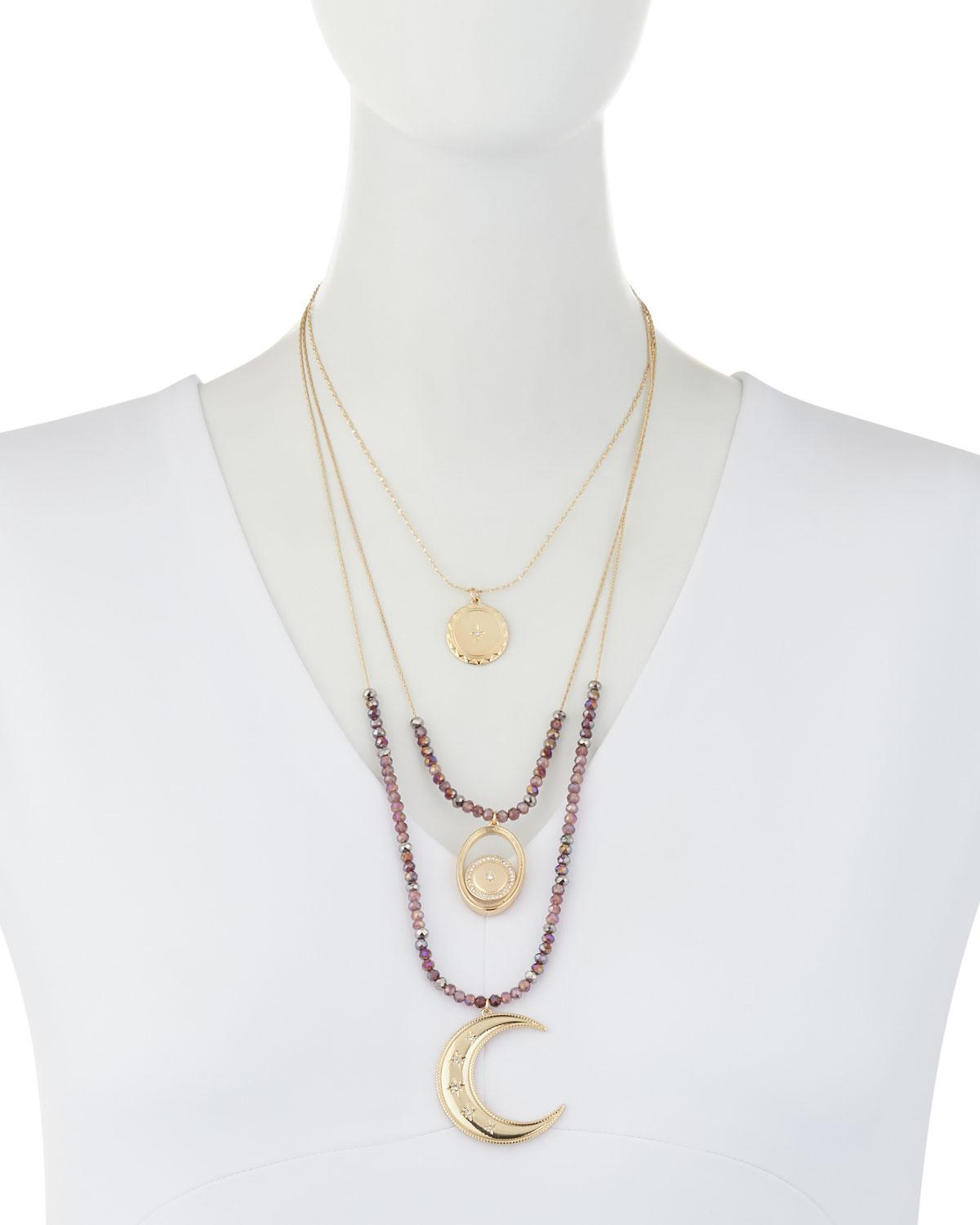 Lydell Nyc Three-Row Celestial Charm Necklace 5NCqD