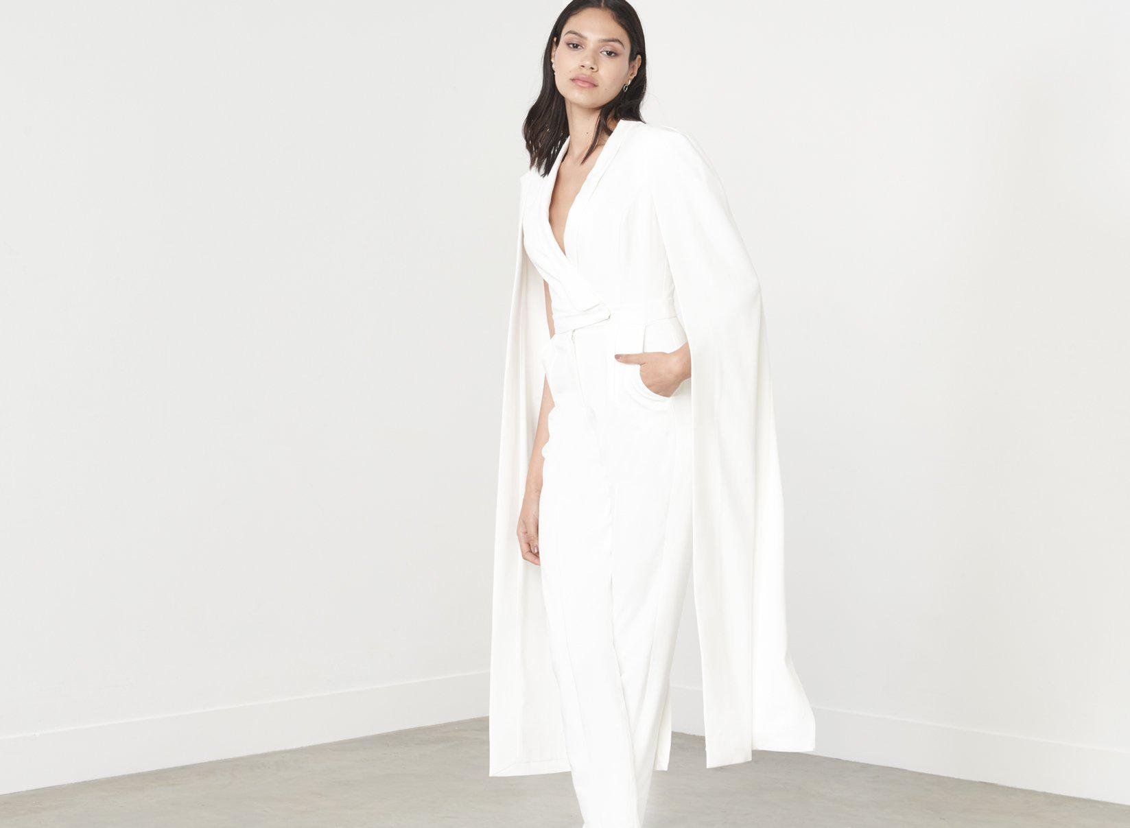 a667a4afe09 Lyst - Lavish Alice Off White Tailored Cape Jumpsuit in White