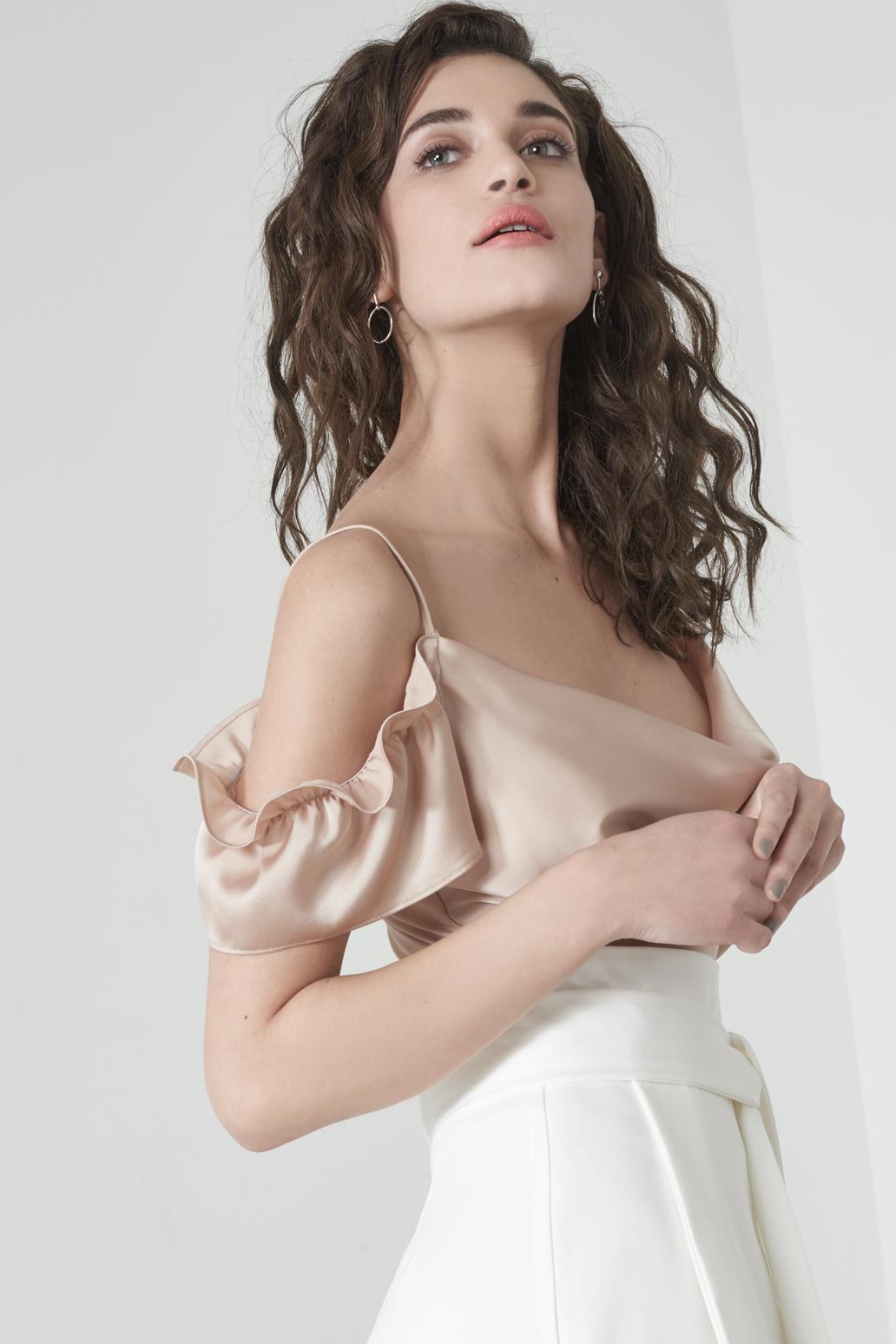 45bfb32f35c8 Lavish Alice Cold Shoulder Camisole Bodysuit In Mink Satin - Lyst