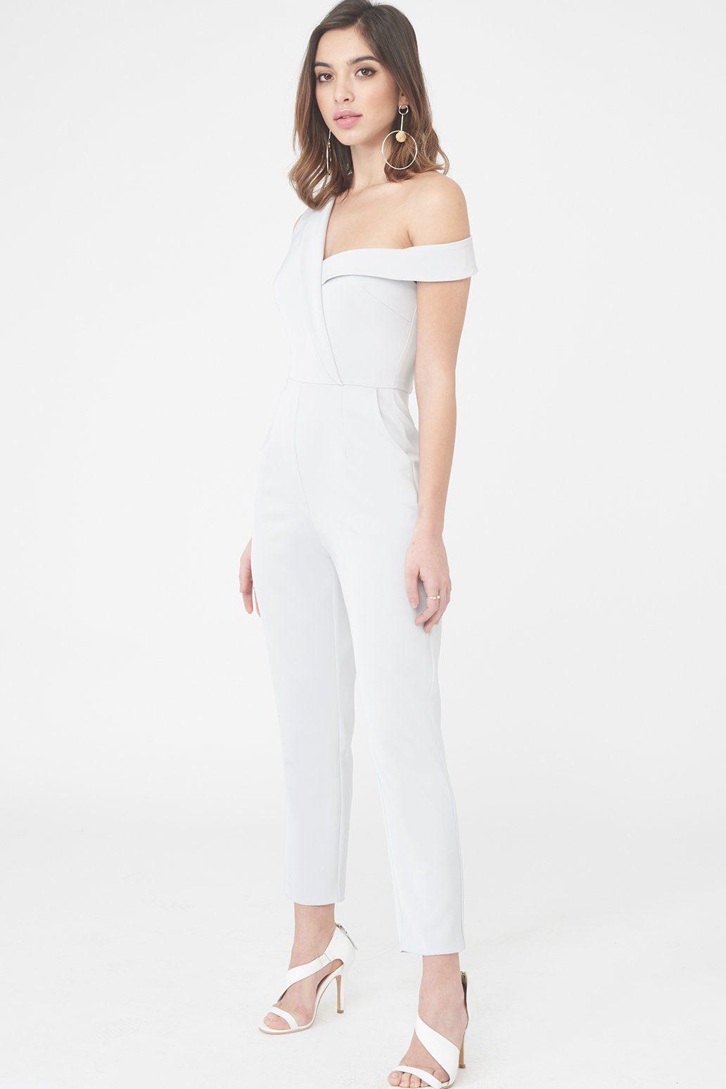 7931d0ce071 Lyst - Lavish Alice Asymmetric Cut Out Straight Leg Jumpsuit In Grey ...