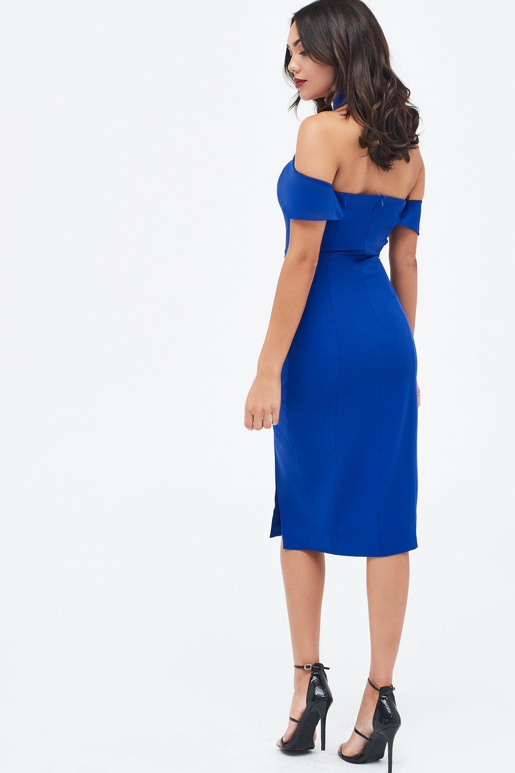 0a2e60f2d14b Lyst - Lavish Alice Halterneck Bardot Midi Dress In Cobalt in Blue