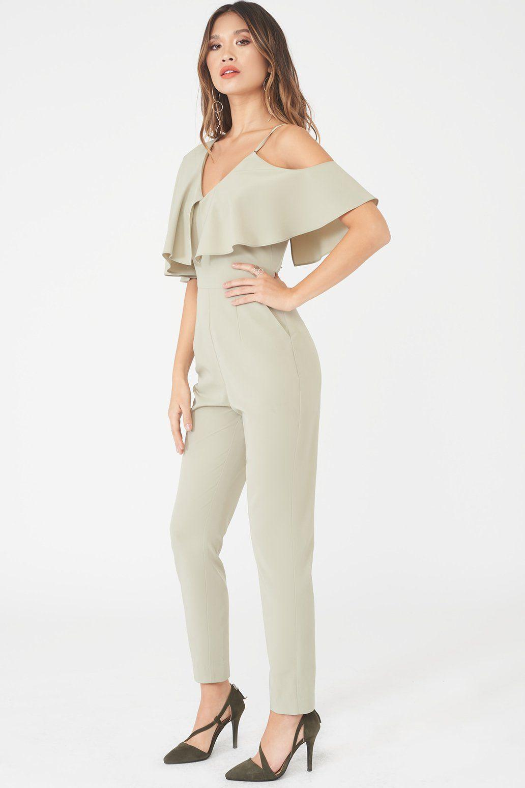 e9e27663a1f Lavish Alice - Asymmetric Off The Shoulder Tapered Jumpsuit In Sage Green -  Lyst. View fullscreen