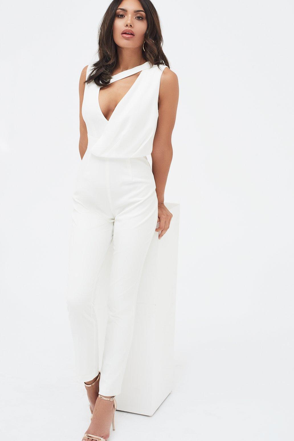 64bb2d529ac Lyst - Lavish Alice Drape Layer Tapered Jumpsuit In White in White