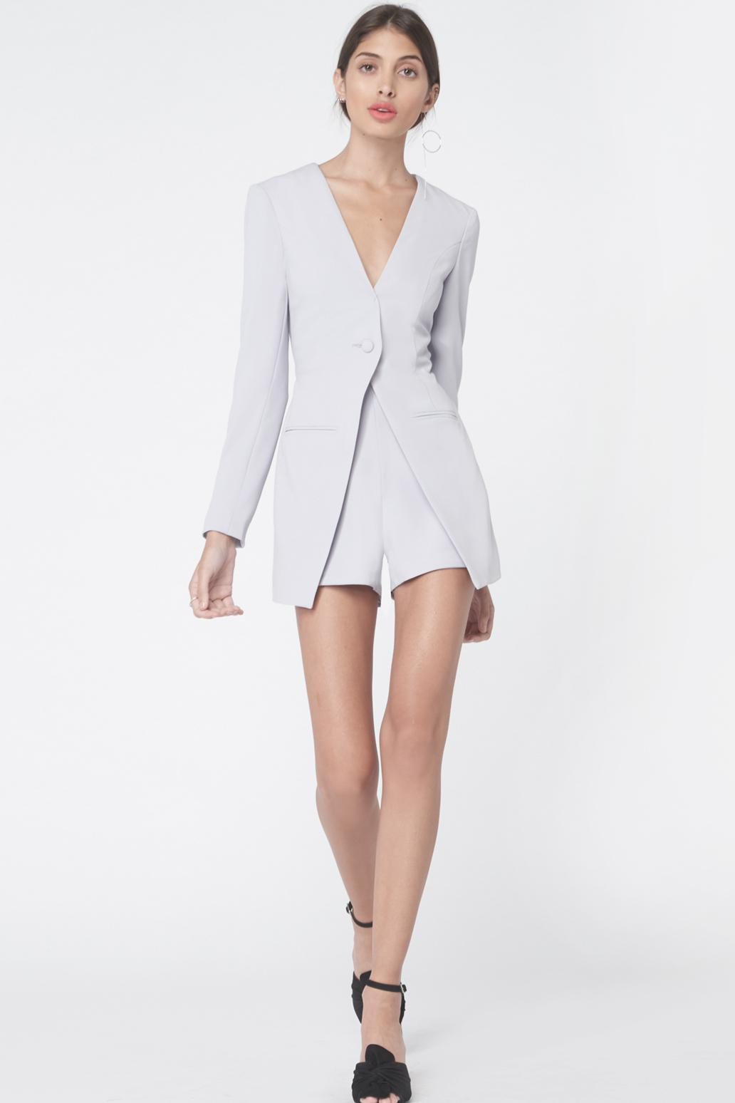 bb990fe4ce Lyst - Lavish Alice Collarless Tuxedo Style Playsuit In Dove Grey in ...
