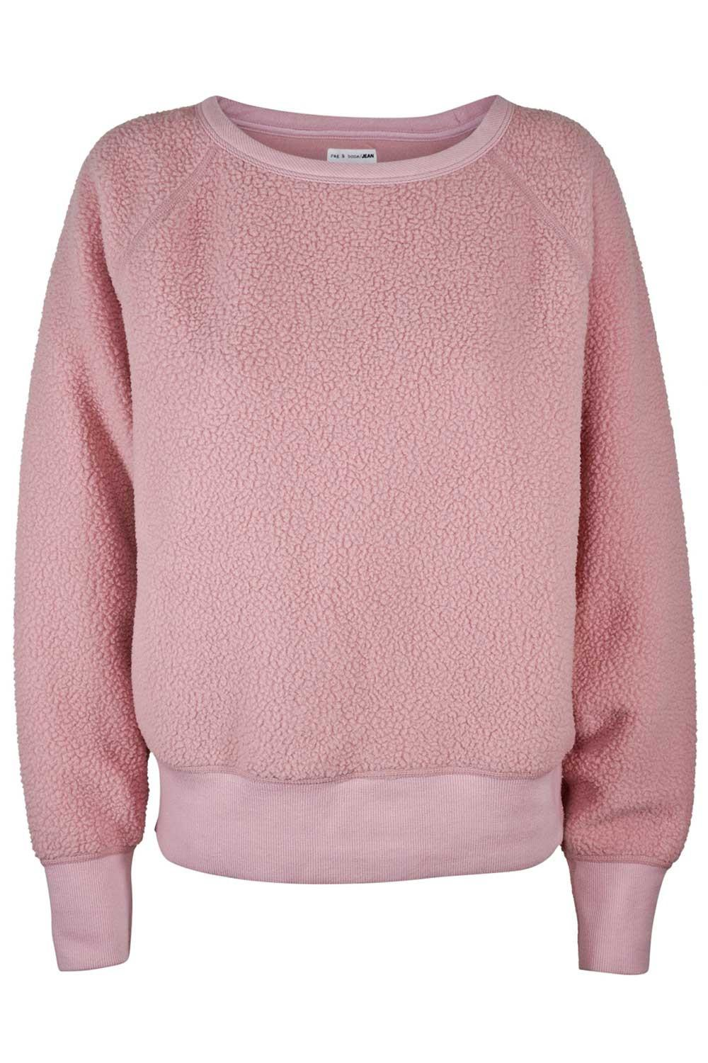 Rag & bone Sweater - Sherpa Fleece Pullover in Pink | Lyst