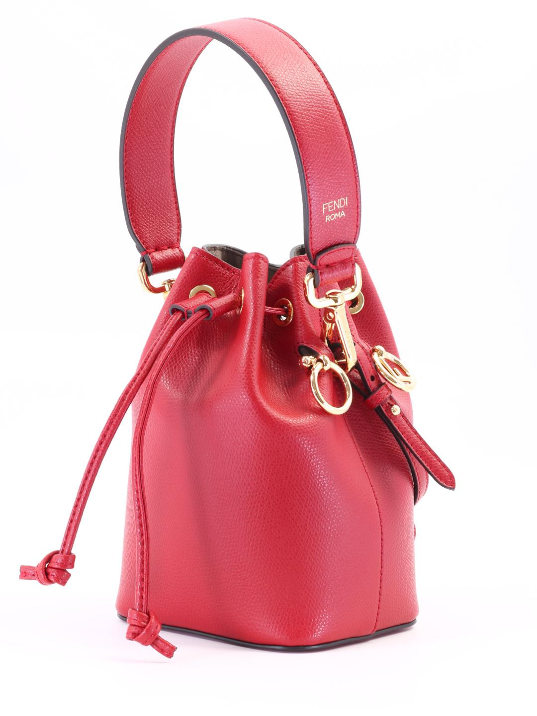 ee29f0bd83ed Lyst - Fendi Bucket Mon Tresor Red in Red