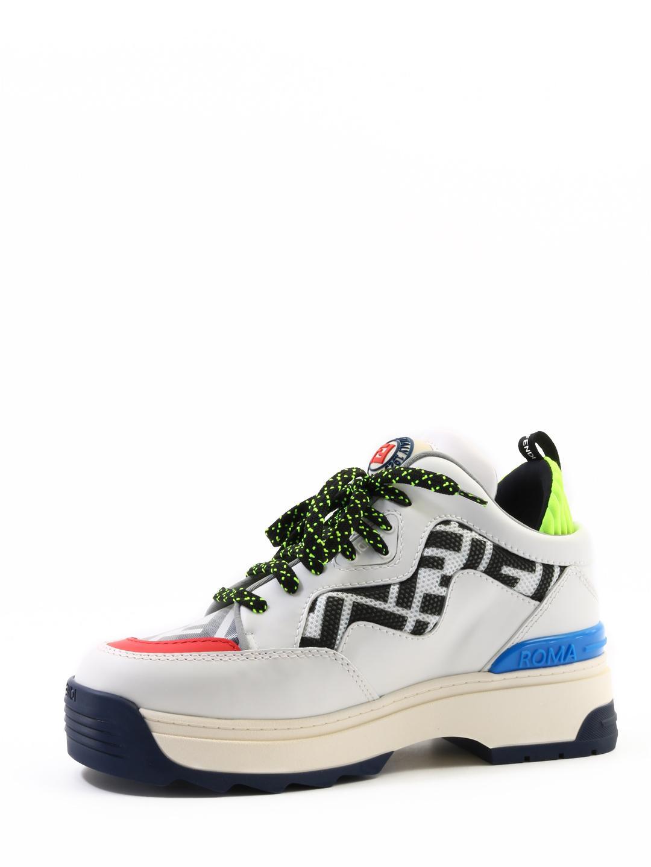 b6bdd4ae4a5db Lyst - Fendi Multicolour Zucca Panel Platform Sneakers in White - Save 22%