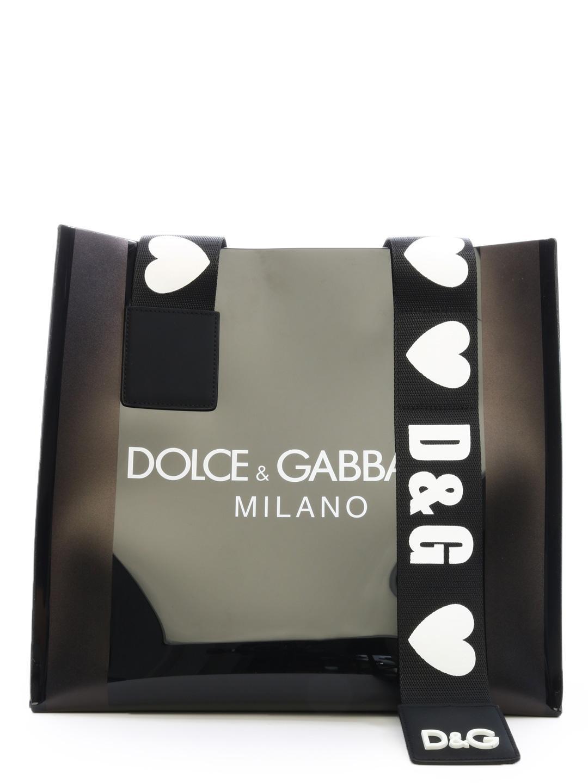 b342650f5d39 Lyst - Dolce   Gabbana Shopping Bag Pvc Blak in Black
